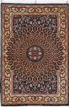 Grandmaster Davari Black & Gold 85% Silk Wool Persian Rug