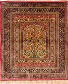 Tribal Vintage Looking Silk Persian Rug
