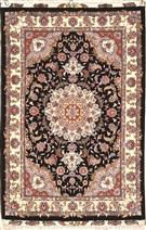 Taghizadeh black Silk Persian Rug