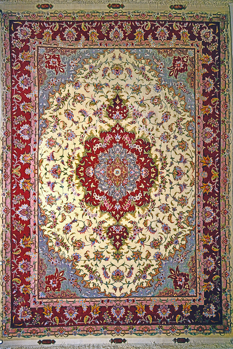 Tabriz Silk Persian Rug Item 10
