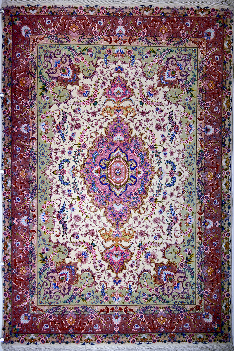 Tabriz Silk Persian Rug Item 12
