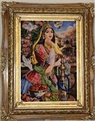 Ghajair girl Silk Persian Tableau Rug (Pictorial Carpet)
