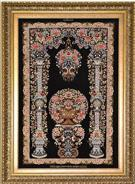 Sadeghzadeh flowerpot Silk Persian Tableau Rug (Pictorial Carpet)