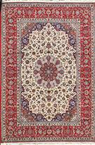 Magnificent Isfahan Silk Base Red & cream Persian Rug Silk Persian Rug