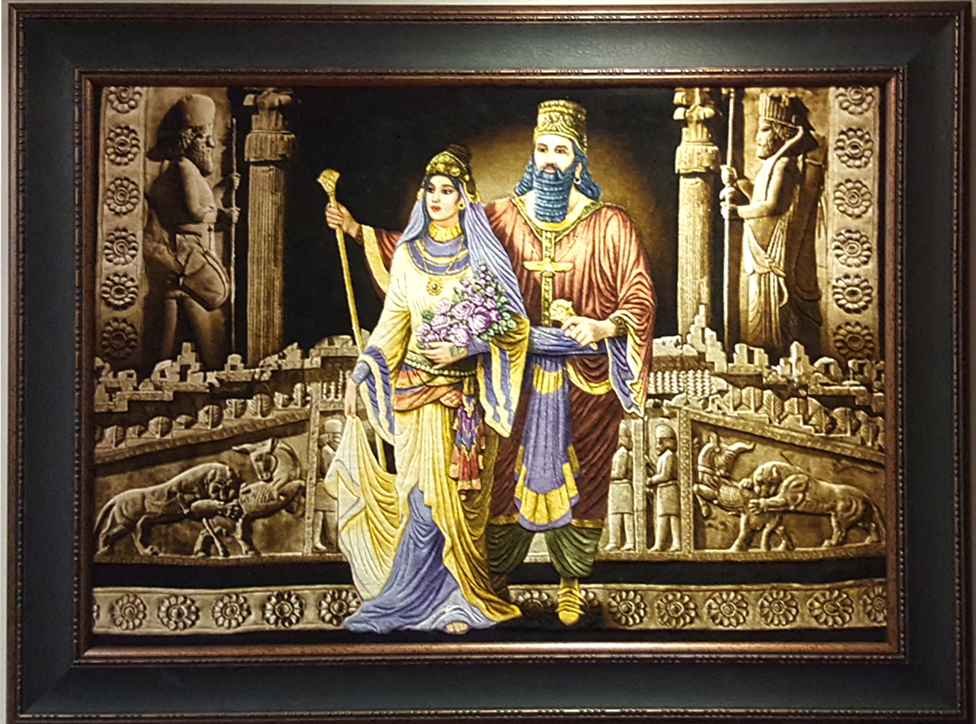 The Great King Cyrus And Kasandan Silk Persian Tableau Rug