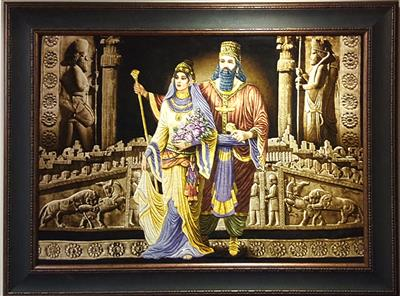 The Great King Cyrus and Kasandan Silk Tableau Rug (Pictorial Carpet)