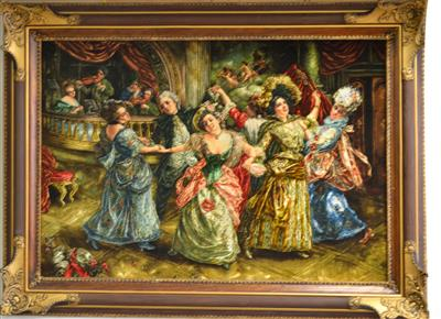 French dance Silk Persian Tableau Rug (Pictorial Carpet)