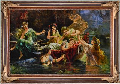 Lake & the girls Silk Persian Tableau Rug (Pictorial Carpet)