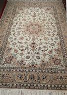 Isfahan Dorri Persian Rug Light Earthy Color Silk Persian Rug