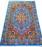Qom Royal Blue  Silk Persian Rug