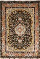 Super Fine rare Benam 80 Raj Black Silk Persian Rug