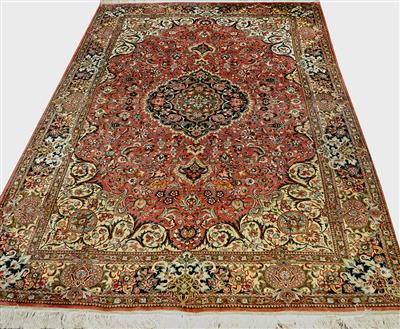 Super rare Vintage Qom Pure Silk Vegetable dye color Silk Persian Rug