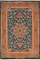 Fine isfahan Tak Kheft rare design Vegetable dye Silk Persian Rug