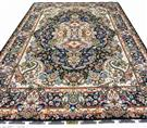 Masterpiece Salari Royal Navy Blue Silk Persian Rug