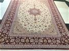 Isfahan Tak Kheft RED Very Fine Slimi Silk Persian Rug