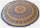ROYAL BLUE QOM ROUND 7X7 Silk Persian Rug