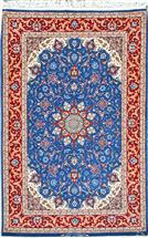 Superfine Isfahan Tak Kheft Royal Blue DORRI Silk Persian Rug