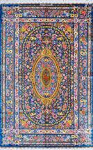 SUPER FINE QOM BLUE ON BLUE BOLD COLOR 3X5 Silk Persian Rug