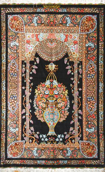QOM SILK 3X5 FLOWER IN MEHRAB Silk Persian Rug