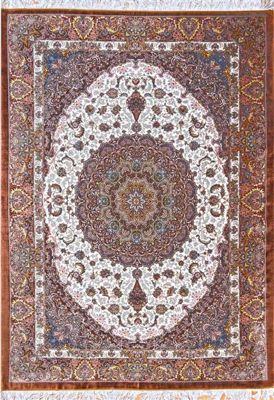 Qom Pure Silk Grand masterpiece 5x8 Brown Cream  Wool Persian Rug