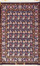 Isfahan Superfine Tak Kheft Paisley Allover Black 3x5 Silk Persian Rug