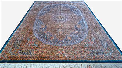 Royal Qom by Grand master Saeed 7x10 Navy Blue Pure Silk Silk Persian Rug