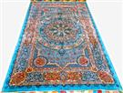 Light Blue Saeed Qom Pure Silk 5x7  Silk Persian Rug