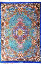 Intricate Qom Pure Silk 3x5 Blue Topaz by master Moghaddam Silk Persian Rug