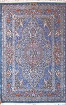 Superfine Qom by master Saeed Light Gray 3x5 Silk Persian Rug