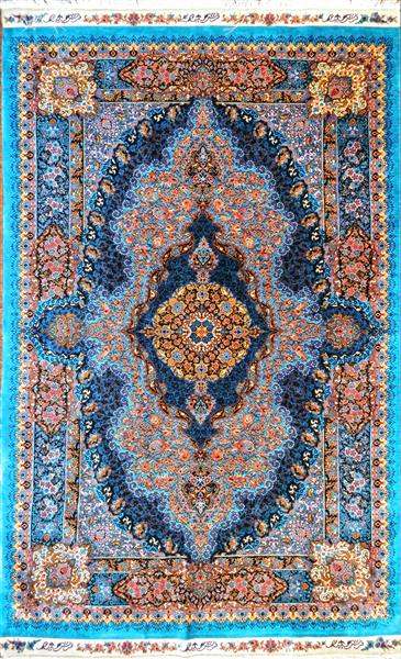 Topaz Blue masterpiece Qom Pure Silk 3x5 Silk Persian Rug