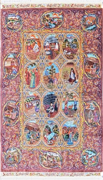 Unique One of Kaind Qom Pure Silk Four Season Silk Persian Rug