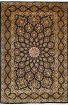 Superfine Isfahan Tak Kheft 70 Raj Gold/Yellow & Black Silk Persian Rug