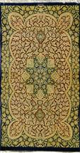 Qom 3X5 Rare Dark Navy with Green  Silk Persian Rug