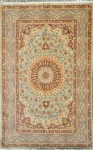 Qom Sadeghzadeh Light Green  Silk Persian Rug