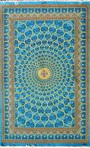 Rare Gonbad Pure Blue turquoise Color 5x7 Silk Persian Rug