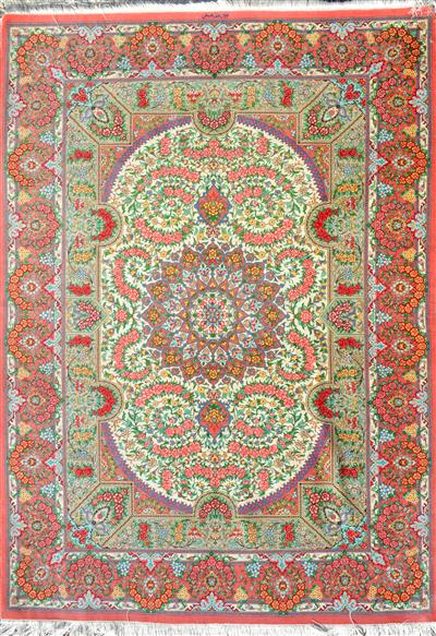 Details About Pure Silk 5x7 Persian Rug Rahimi Peach Pink Color With Light Yellow Cream