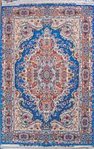 Royal Blue 95% Silk Tabriz Persian Rug  Silk Persian Rug