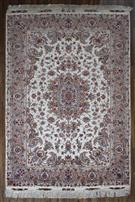 Tabriz Design Cream Silk Persian Rug