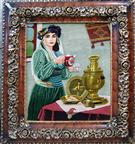 Kurdish Girl Silk Persian Tableau Rug (Pictorial Carpet)