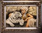 Cleopatra & tiger Silk Persian Tableau Rug (Pictorial Carpet)