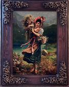 Farm Girl Silk Persian Tableau Rug (Pictorial Carpet)