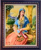 Akhaemenian Girl Silk Persian Tableau Rug (Pictorial Carpet)