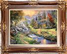 Cottage & River by Kinkade Silk Persian Tableau Rug (Pictorial Carpet)