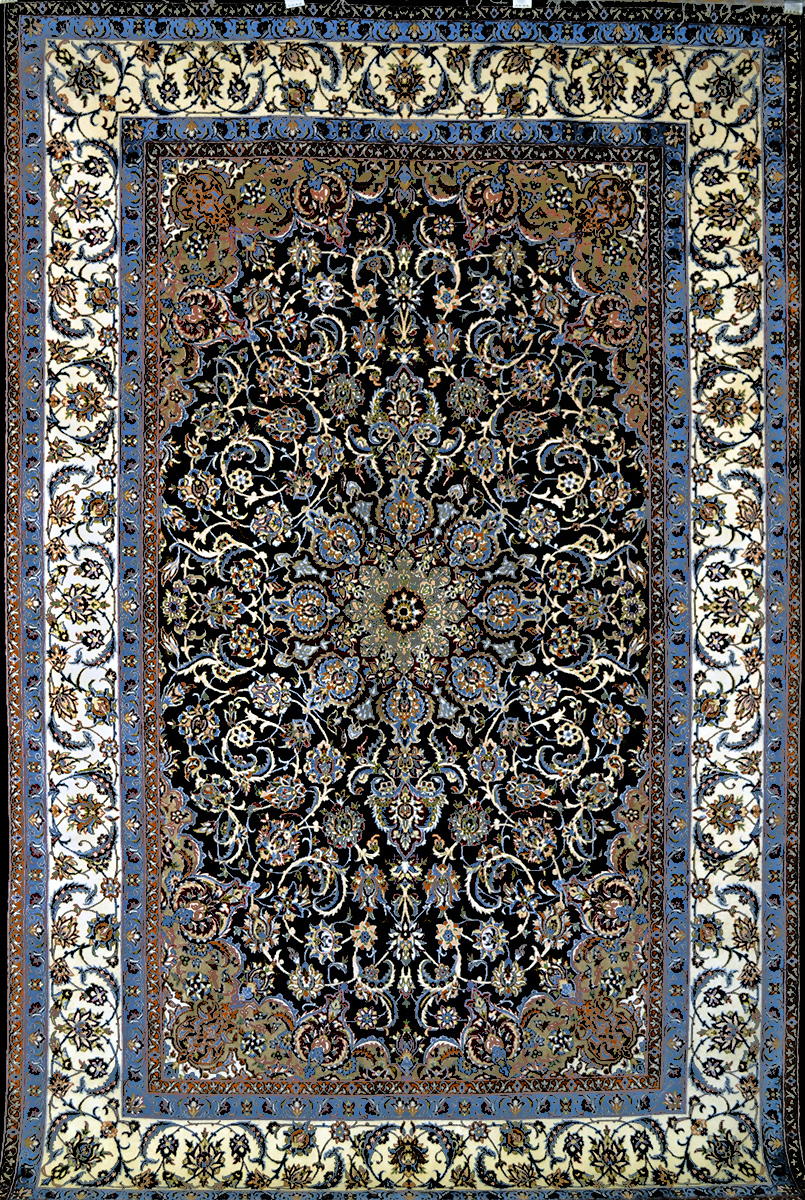 slimi dark royal blue isfahan silk persian rug item 794. Black Bedroom Furniture Sets. Home Design Ideas