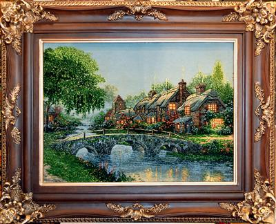 Afternoon Cottage - Thomas Kinkade Silk Persian Tableau Rug (Pictorial Carpet)