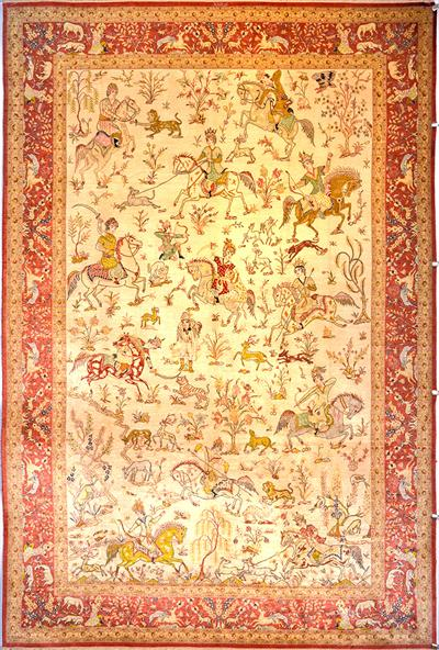 Hunting Scene Masterpiece Qum Pure Silk Persian Rug 7x10