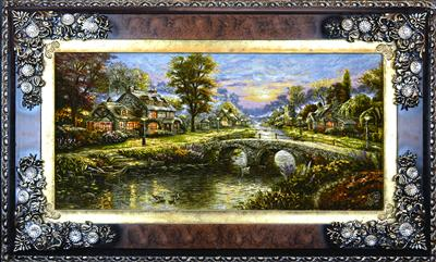 Green Valley  Silk Persian Tableau Rug (Pictorial Carpet)
