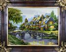 Cottage & Bridge Silk Persian Tableau Rug (Pictorial Carpet)