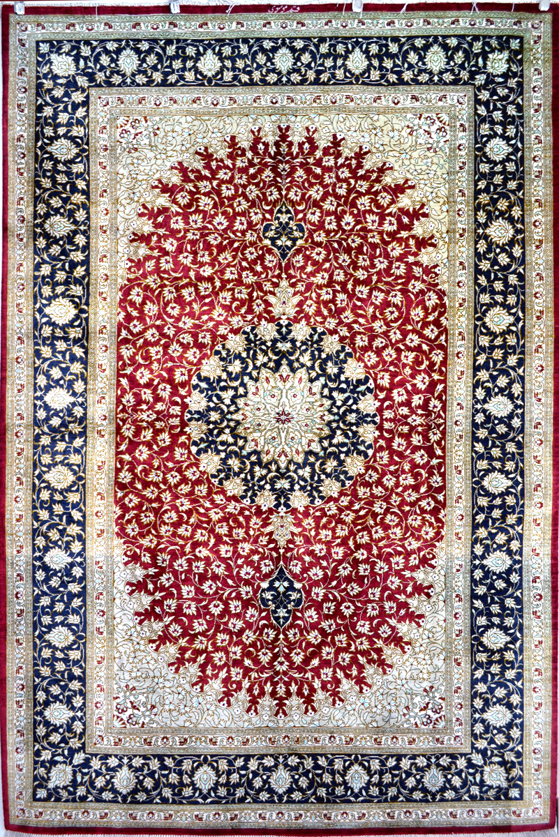 Qum Silk Carpet Silk Persian Rug Item Hf 1216