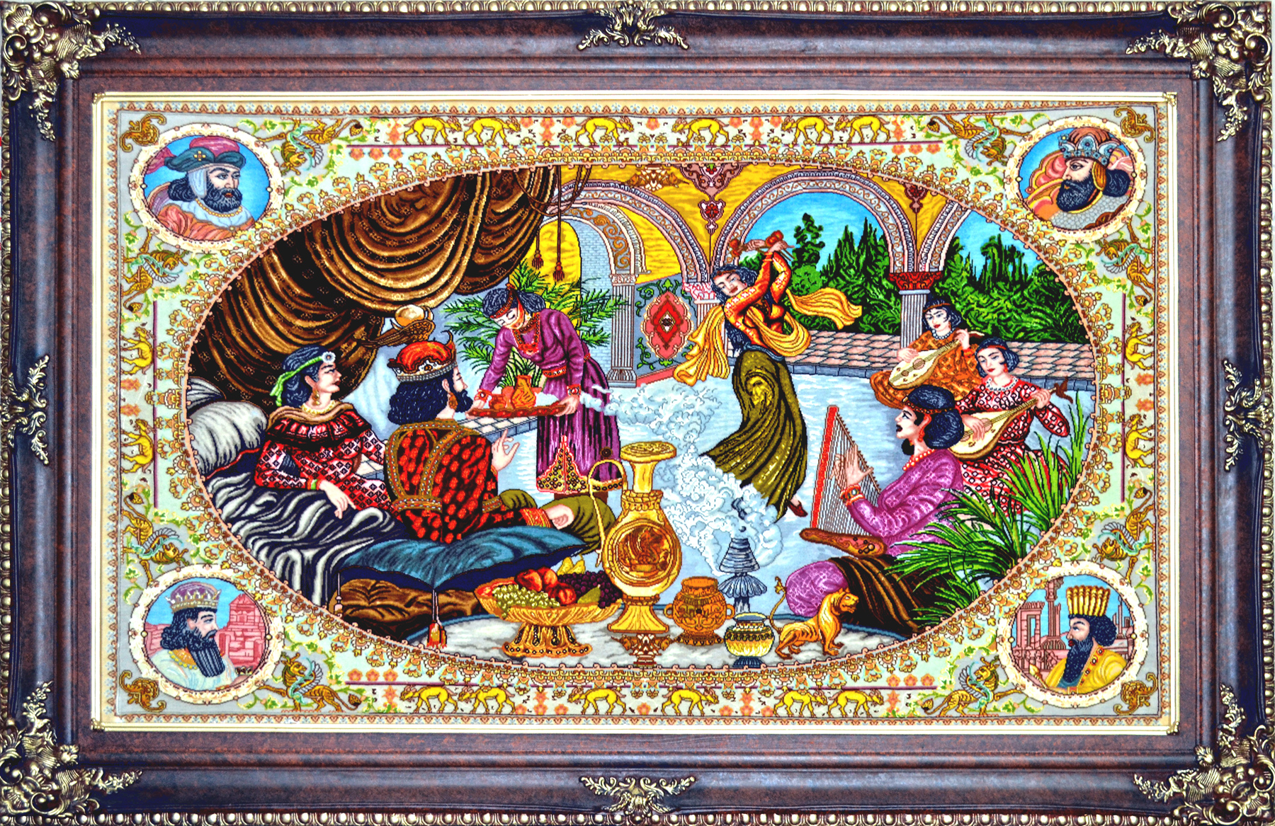 Khosrow Va Shirin Feast Wool Persian Tableau Rug